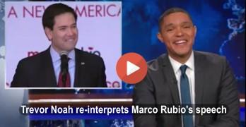 Daily Show Trevor Noah re-interprets Marco Rubio speech 2