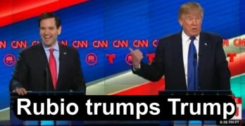 GOP Debate Marco Rubio embarasses Donald Trump by using his words against him