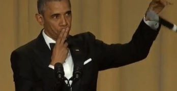 President Obama at Correspondents Dinner Mic Drop