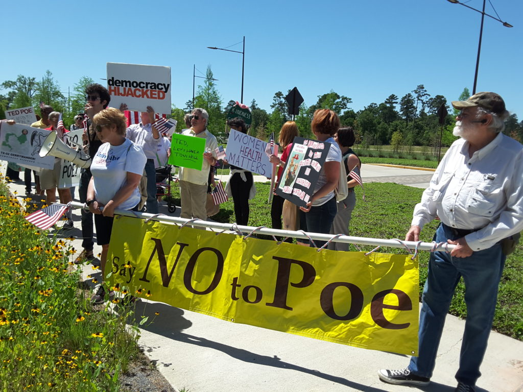 Ted Poe's constituents followed him to Chamber of Commerce event demanding a town hall