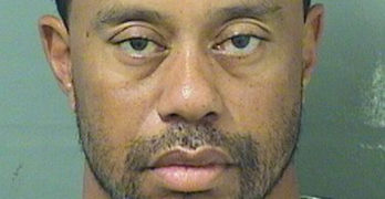 Tiger Woods appears in a booking photo released by Palm Beach County Sheriff's Office in Palm Beach