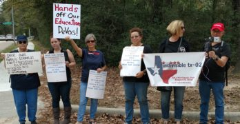 Betsy DeVos greeted by protesters as she visits Houston Area High School (VIDEO)