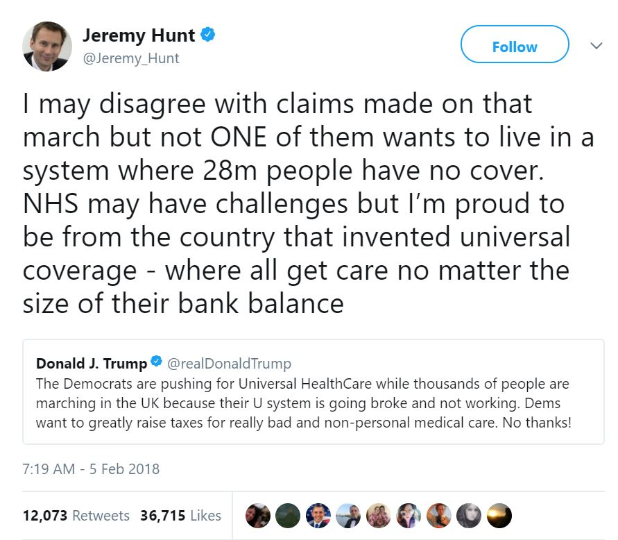 British Health Secretary Jeremy Hunt responds to Trumps healthcare tweet