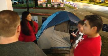 Young voters camp out to be first voting in Midterm 2018 in Houston Texas