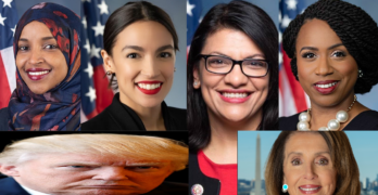 The Squad (Ilhan Omar, Alexandria Ocasio-Cortez, Rashida Tlaib, Ayanna Pressley) Donald Trump, Nancy Pelosi