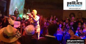 Nina Turner speaking at Bernie's Nevada victory party