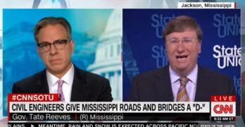 Jake Tapper lets the Mississippi Governor spin infrastructure bill lies. We correct the record.