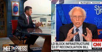 Bernie Sanders & Joe Manchin's values go at it on Sunday morning shows. America wants $3.5T Bill.