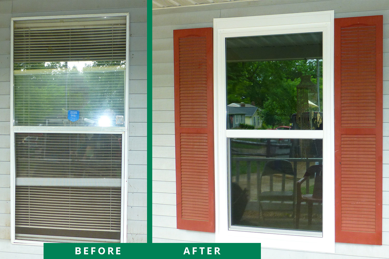 before and after window installation marion home