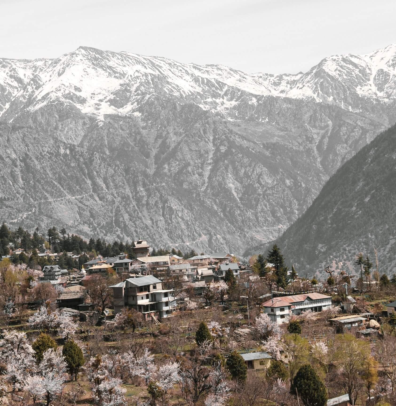 Kinnaur Valley muntains as seen from Kalpa Roghi road