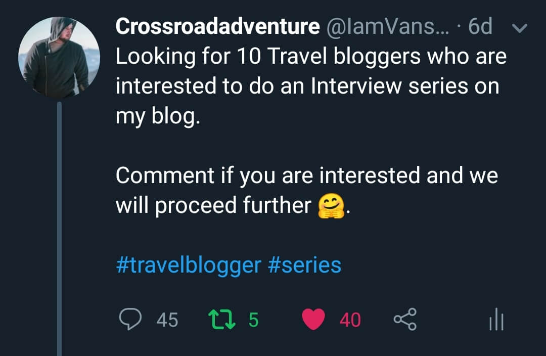 I used Twitter to get to know Travel Bloggers from around the world
