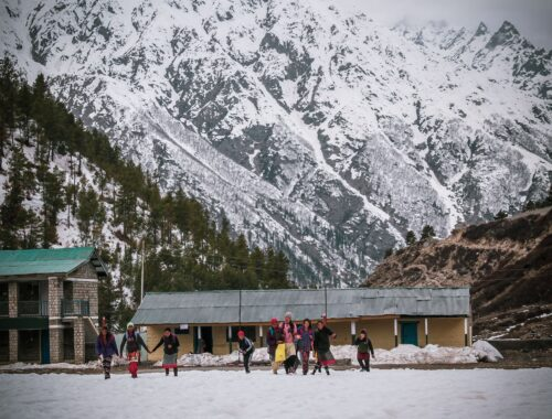 The Students of the Chitkul Secondary School were seen coming out after the end of the School.