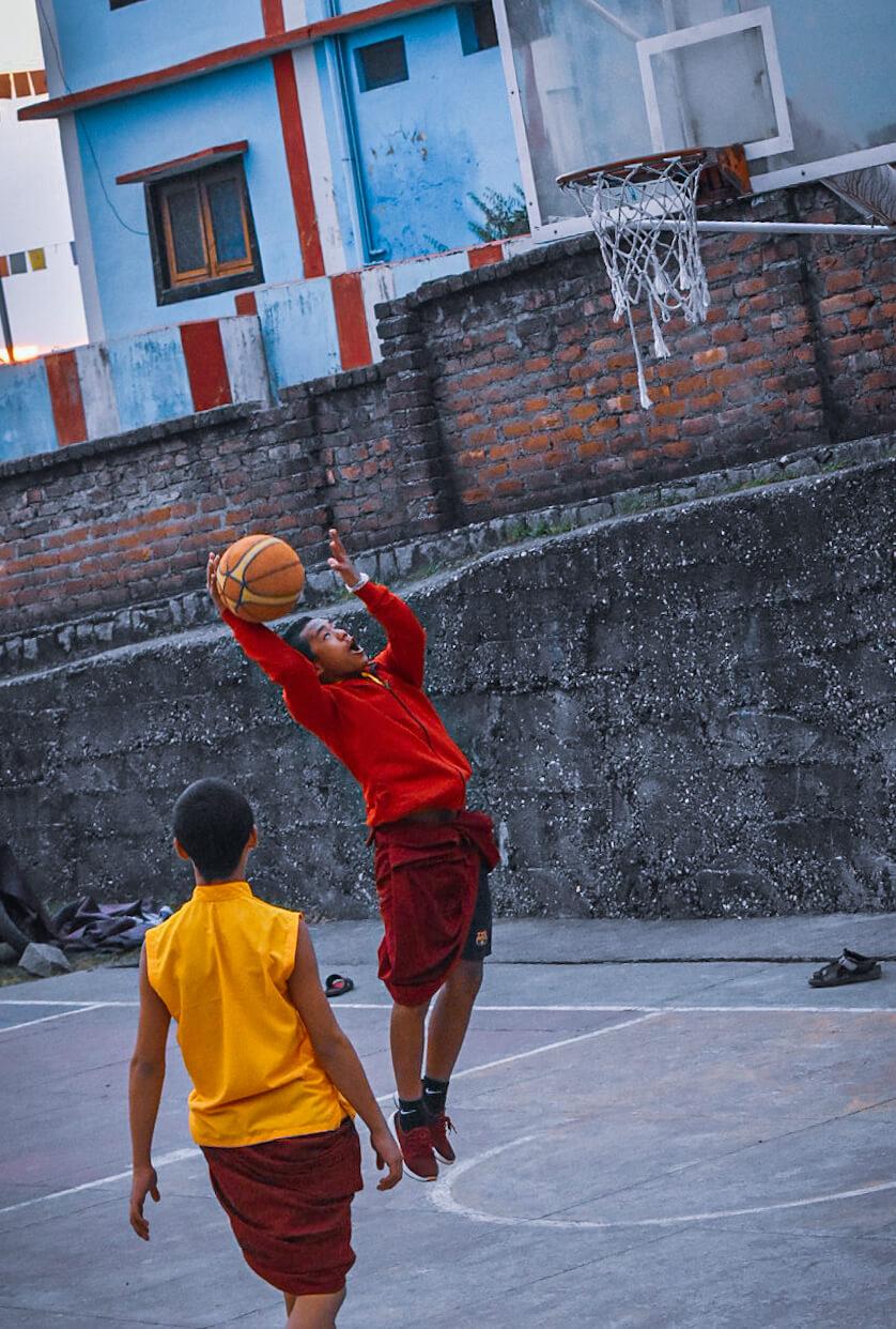 Becoming a Spectator in a Basketball match at Bir Sakya Lama School