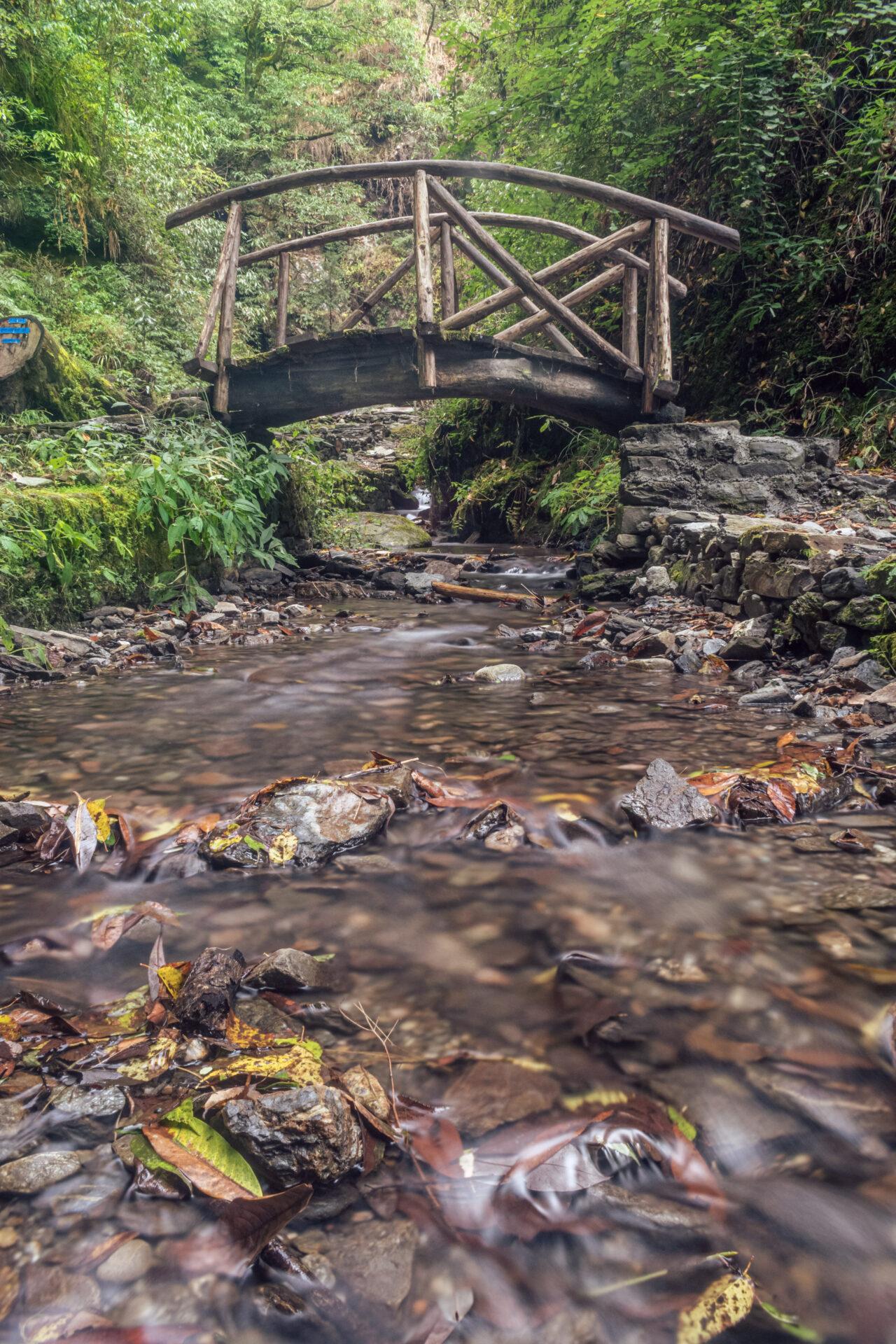 Small River Stream Flowing from under the Bridge near Jibhi Waterfall