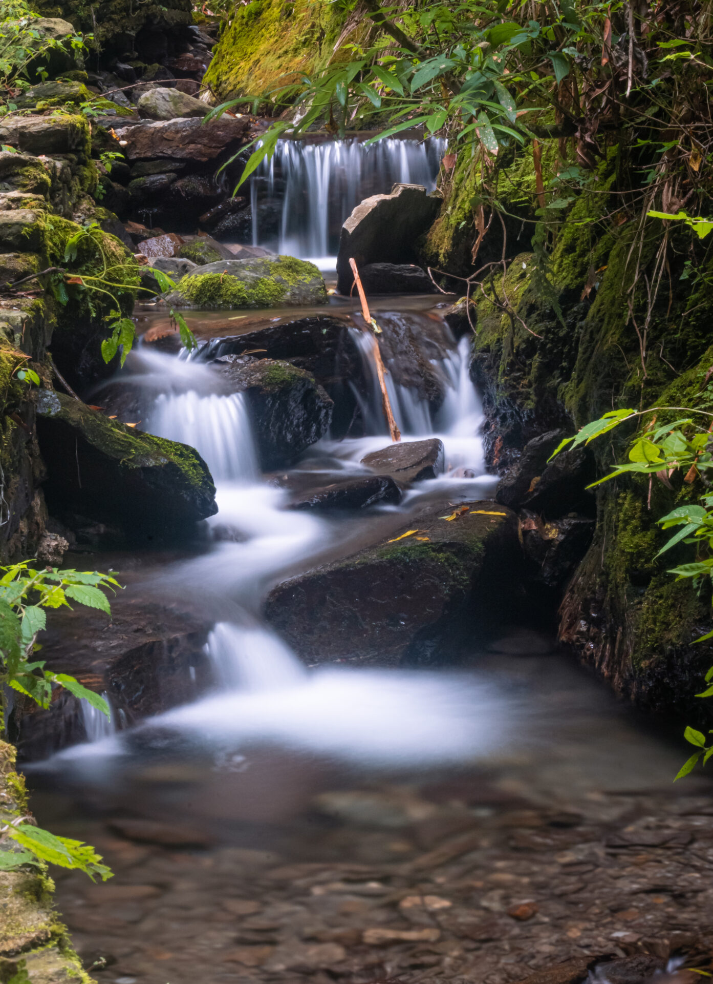 The Stream of the water flowing just near the waterfall