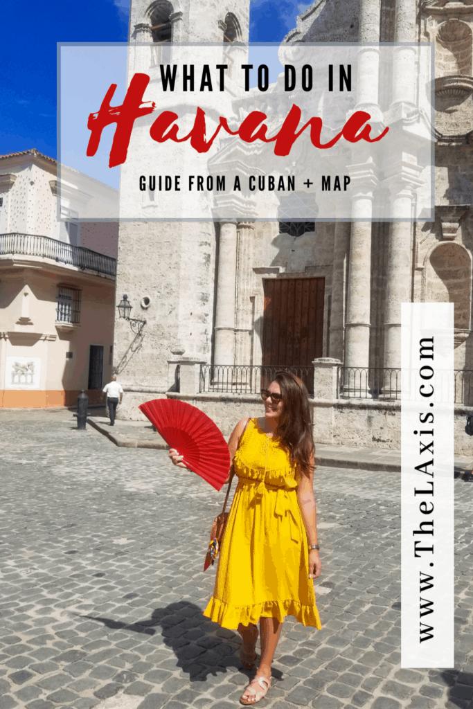 What to do in Havana Cuba - yellow dress outside of Havana Cathedral - what to wear in Havana