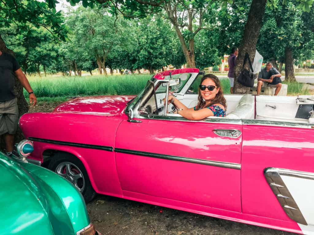 Pink 1950 Ford Victoria - Riding a Vintage car in Havana Cuba