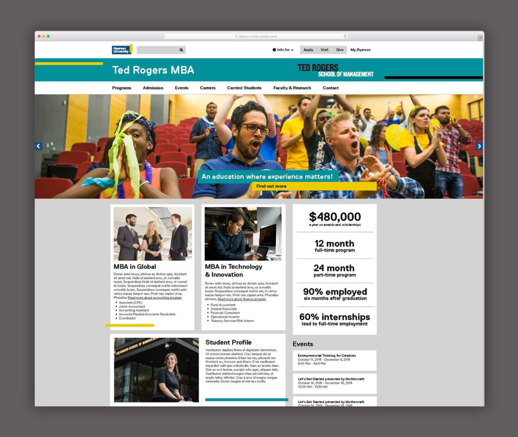 Ryerson University TDSM Marketing Materials Website Layout Digital Design