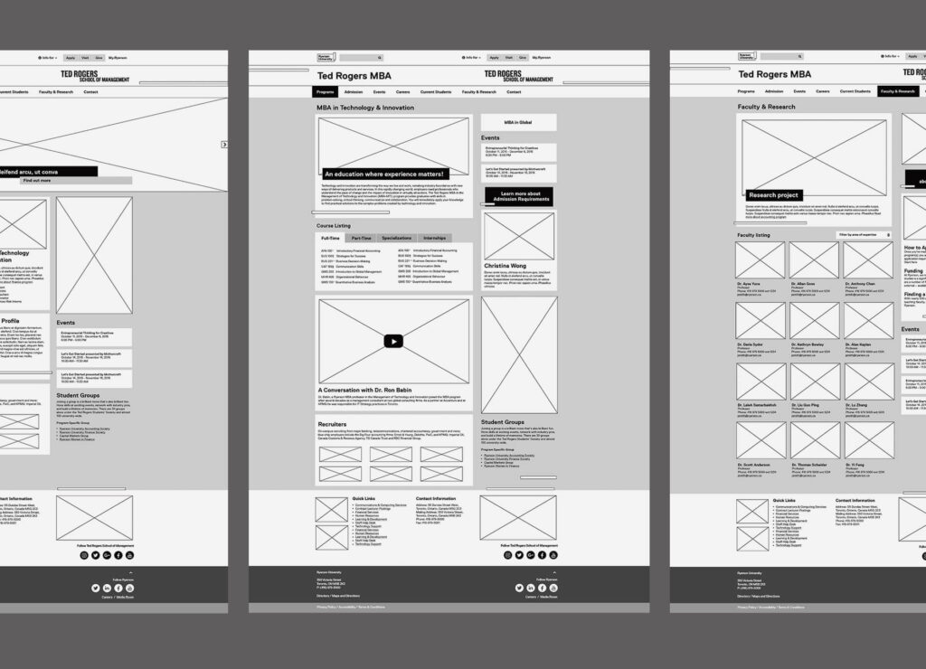 Ryerson University TDSM Marketing Materials Website Layout Digital Design Wireframe UI