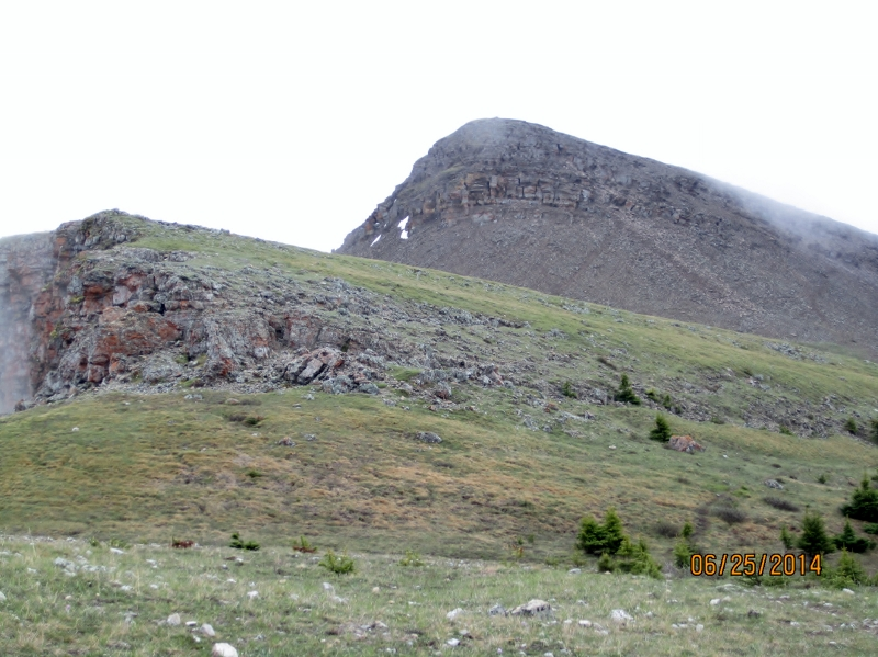 Rock face of lower summit