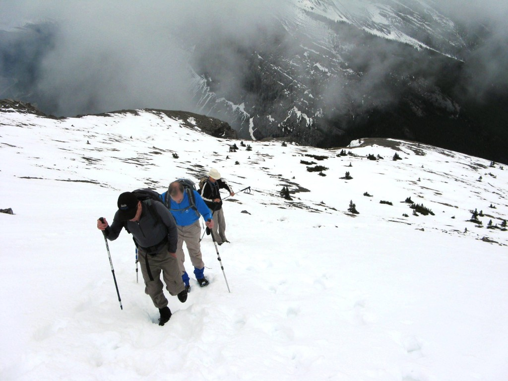 Looking down.The snow made the going fairly easy