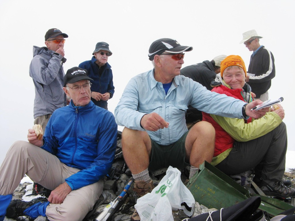 Lunch at the top with the summit log box in the fore ground