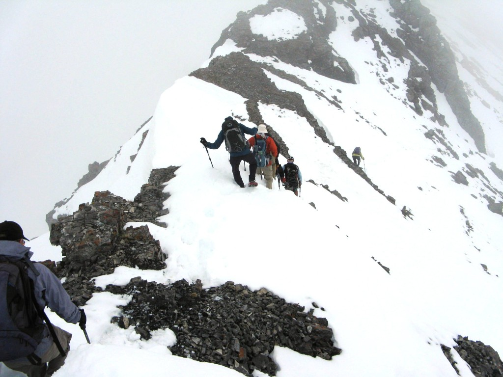 Ascending from the summit.The other summit would be out of sight top of picture