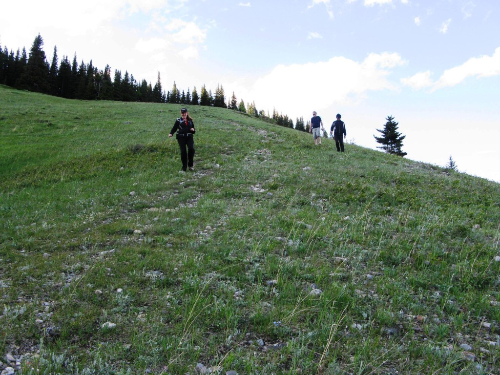 Road becomes a path for the final part to the lower and top summit