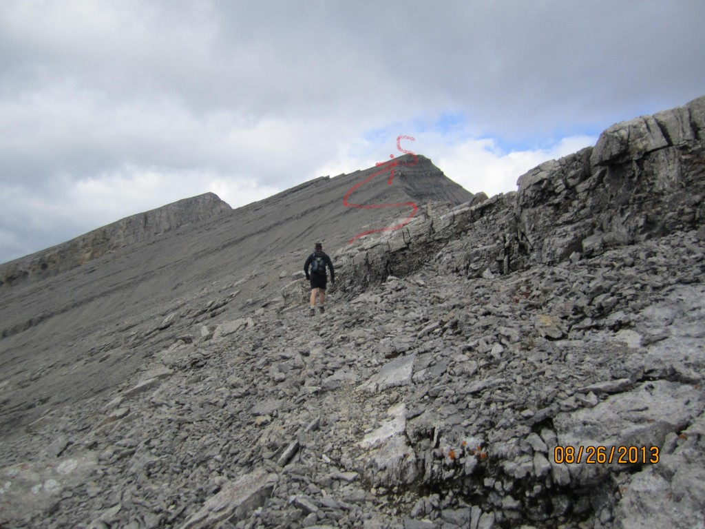 Follow the red line along the ridge to the summit