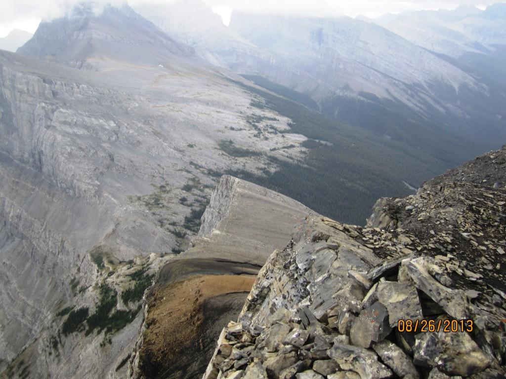 Looking down at Rimwall Rock Face