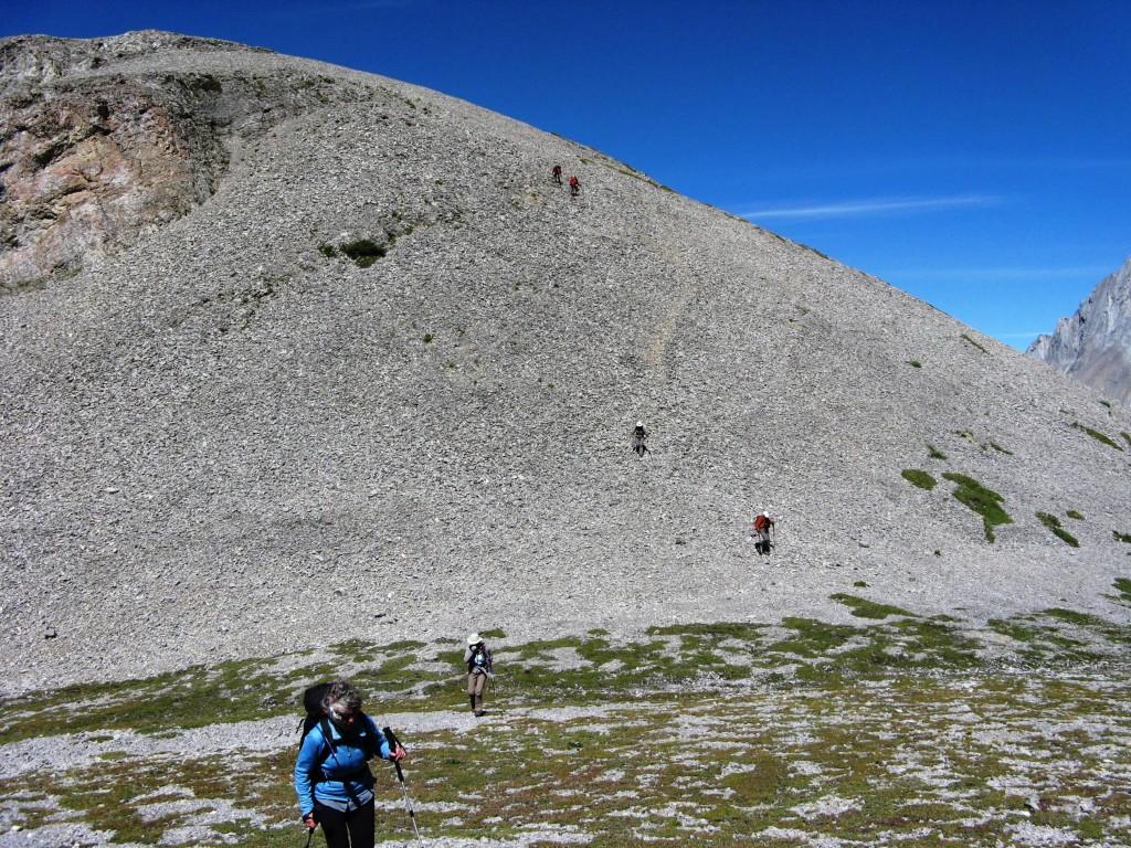 Coming down off the summit ridge