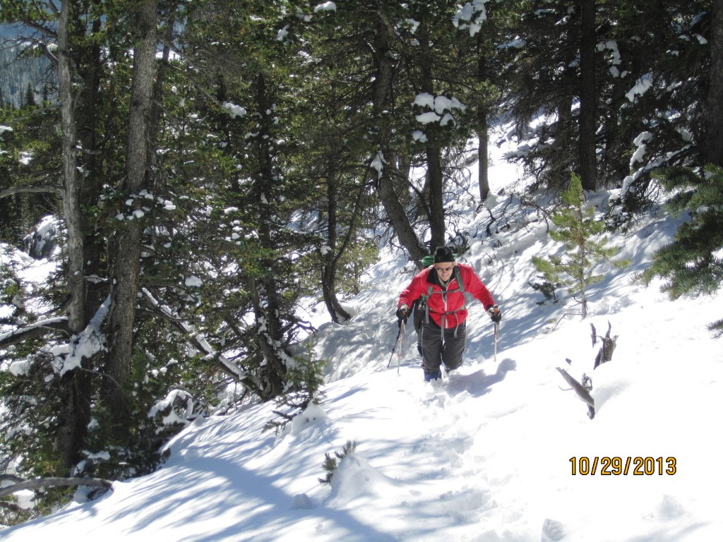 Trudging up through the deep wet snow