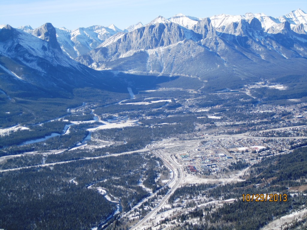 From the Buttress looking into Canmore with Ha Ling left and East of Rundle upper right