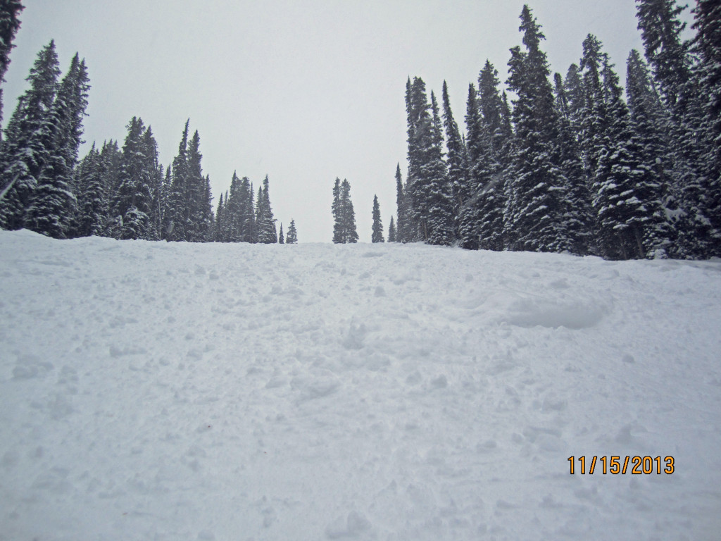 Looking back up Blue Bell lots of Powder