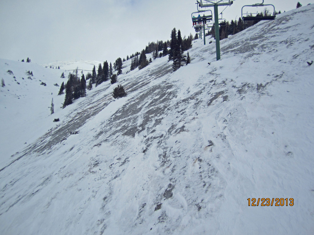 Unskiable terrain in Grizzly Gully