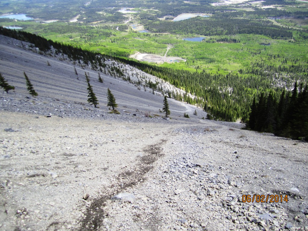 Looking down the first scree run