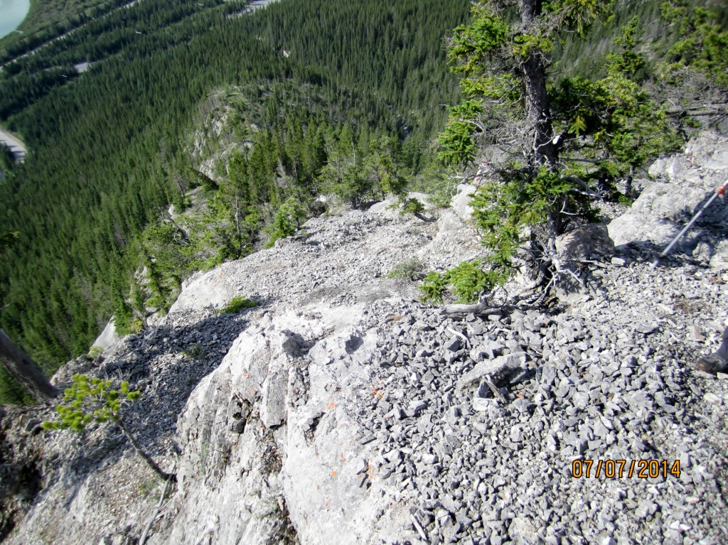 Looking down the ridge of ascent