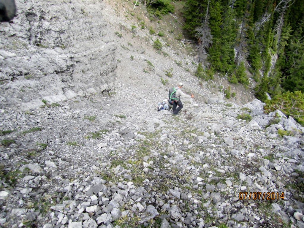 We walked down to the left to come around the steep scramble