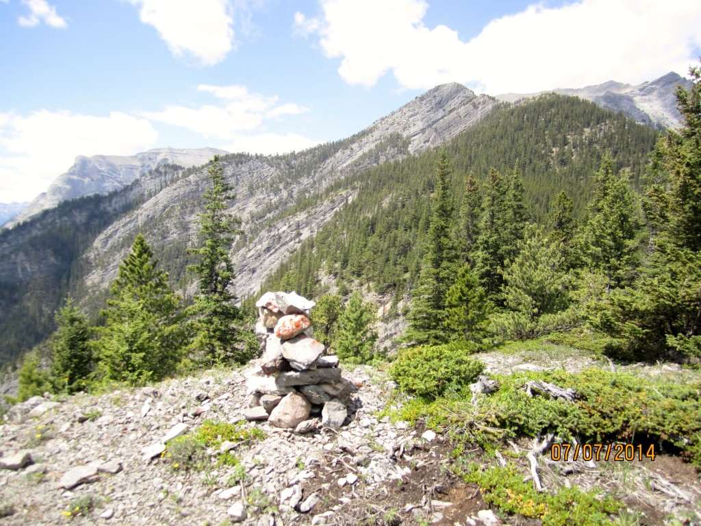 Looking back to the summit (rock) Then over treed hump. This is from the waypoint for Lunch