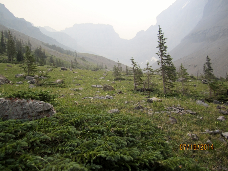 How the hike looks after leaving the trees through the smoke haze