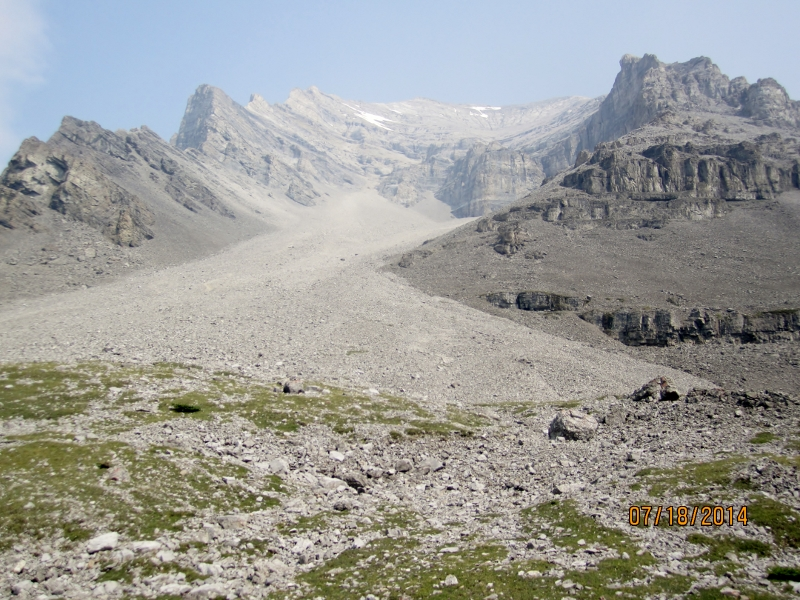 Looking up at the scree cone on scramble route to Mt Lougheed