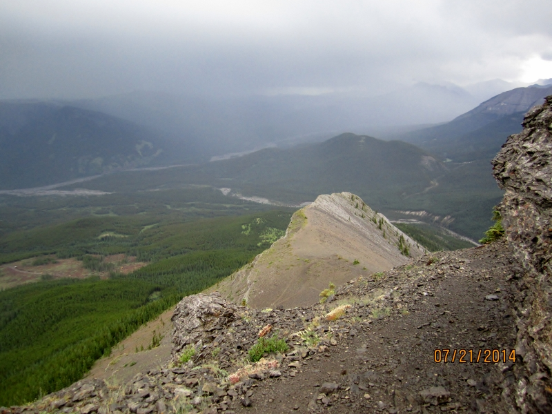 Looking back to the first section of ridge