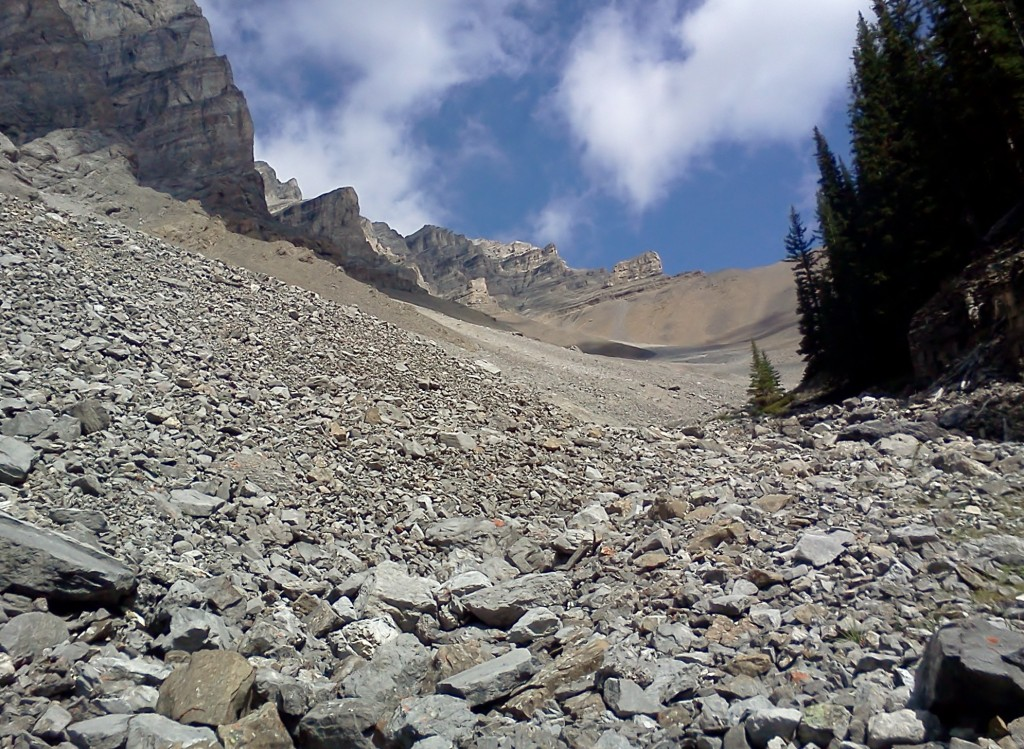 At the top end of the creek looking towards Rundle