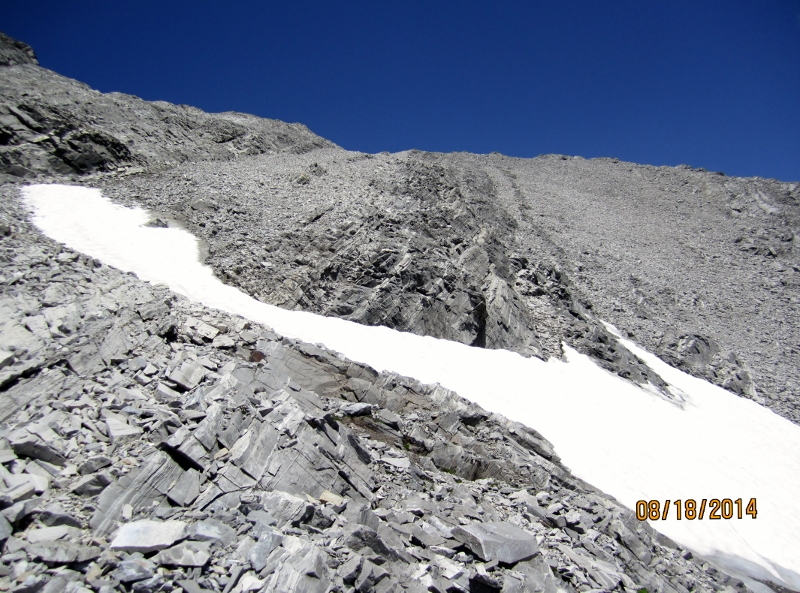 Going up the rocky strata