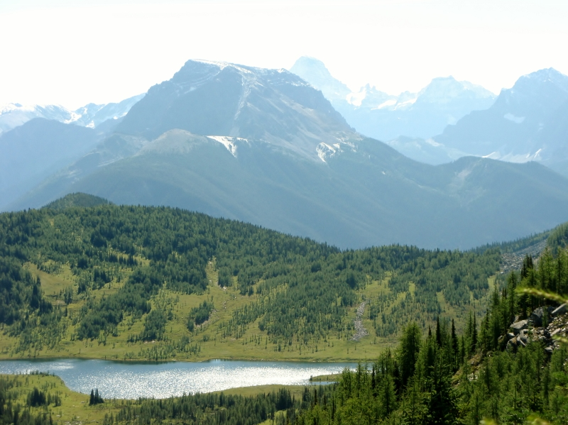 Eophius Lake. Nestor front. Right is Indian Peak & Mt  Assinaboine distant