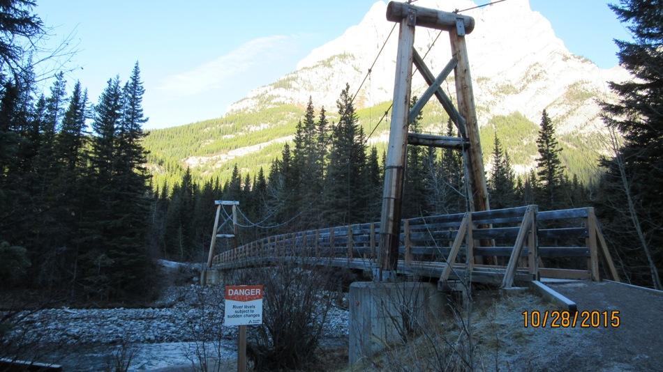 The first suspension bridge across the Kananaskis river