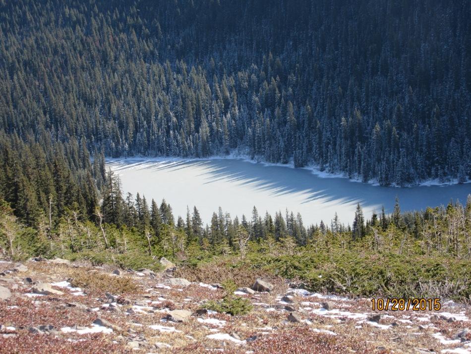 Looking down at Lilian Lake