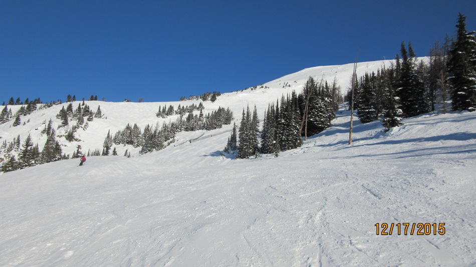 Looking up at Headwall & Outer Limits