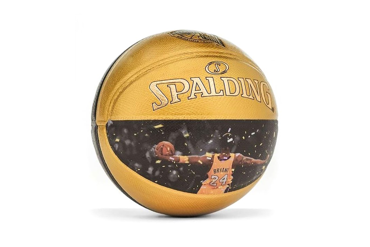 Basketball in gold and black with photo of Kobe Bryant