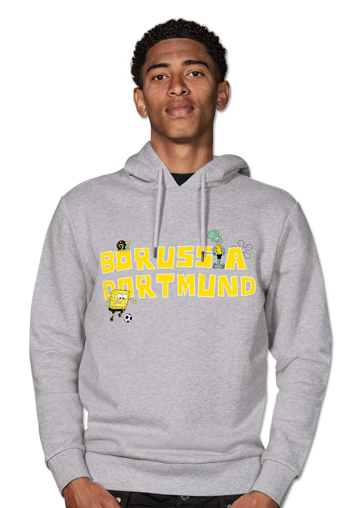 Gray sweatshirt with yellow lettering on chest